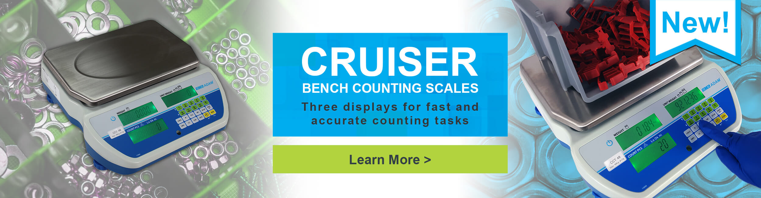 New! Cruiser Bench Counting Scales. Three displays for fast and accurate counting tasks.